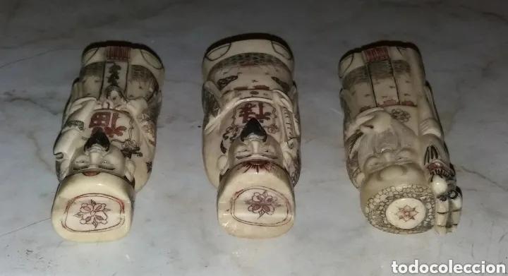 Arte: Los 3 Dioses Chinos, siglo XVIII marfil firmado - Foto 6 - 177666872