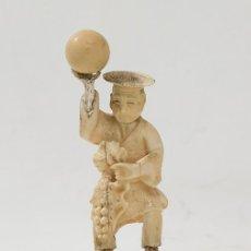 Arte: FIGURA JAPONESA EN MARFIL TALLADO C. 1900. PERSONAJE CON GLOBO.. Lote 179328010