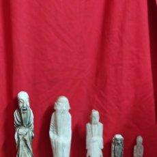 Arte: IMPRESIONANTE COLECCIÓN DE 5 ESCULTURAS JAPONESAS MÁRMOL SIGLO XIX. Lote 179376621