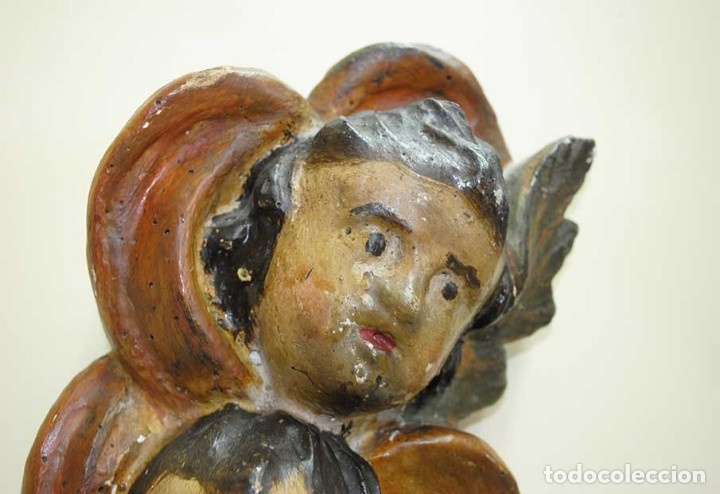Arte: PAREJA DE ANGELITOS ANTIGUOS DE MADERA TALLADA SIGLO XVIII - Foto 5 - 179944107