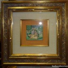 Arte: PINTURA INDIA EN PLACA MARFIL PINTADA, PAREJA. Lote 180012877