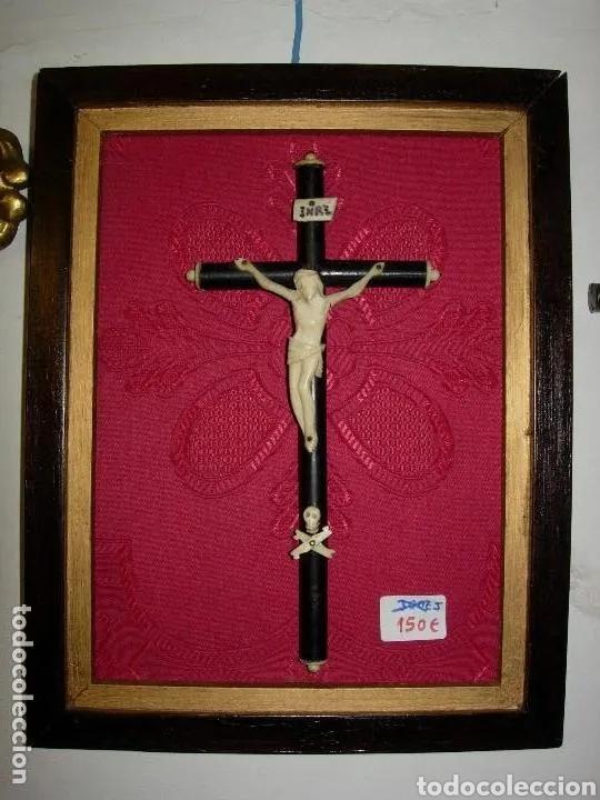 ESCULTURA CRISTO EN CRUZ, SIGLO XVIII MARFIL ENMARCADO (Arte - Escultura - Marfil)