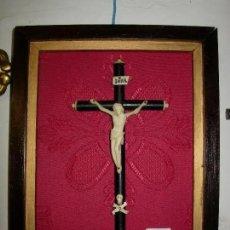 Arte: ESCULTURA CRISTO EN CRUZ, SIGLO XVIII MARFIL ENMARCADO. Lote 180039113