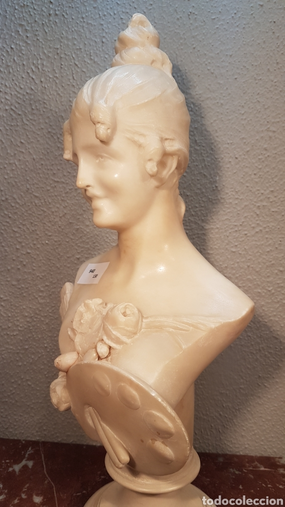 Arte: ESCULTURA DE ALEGORÍA DE LA PINTURA, EN ALABASTRO. ESCUELA ITALIANA H. 1900. ALTURA 40 CM. - Foto 2 - 180512730