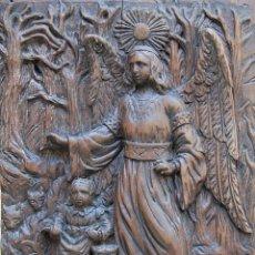 Arte: ORIGINAL SIGLO XVIII - ANGEL DE LA GUARDA (CUSTODIO): NIÑA ACECHADA POR LOBOS. Lote 181072202