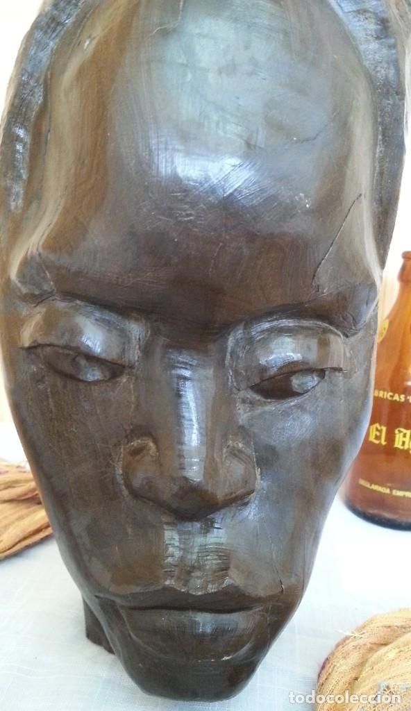 Arte: Efigie de mujer. Escultura en madera tallada. Origen Cubano - Foto 2 - 181485272