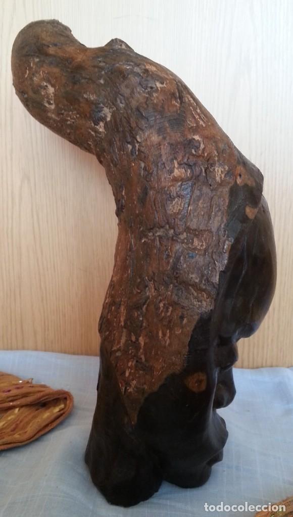 Arte: Efigie de mujer. Escultura en madera tallada. Origen Cubano - Foto 5 - 181485272