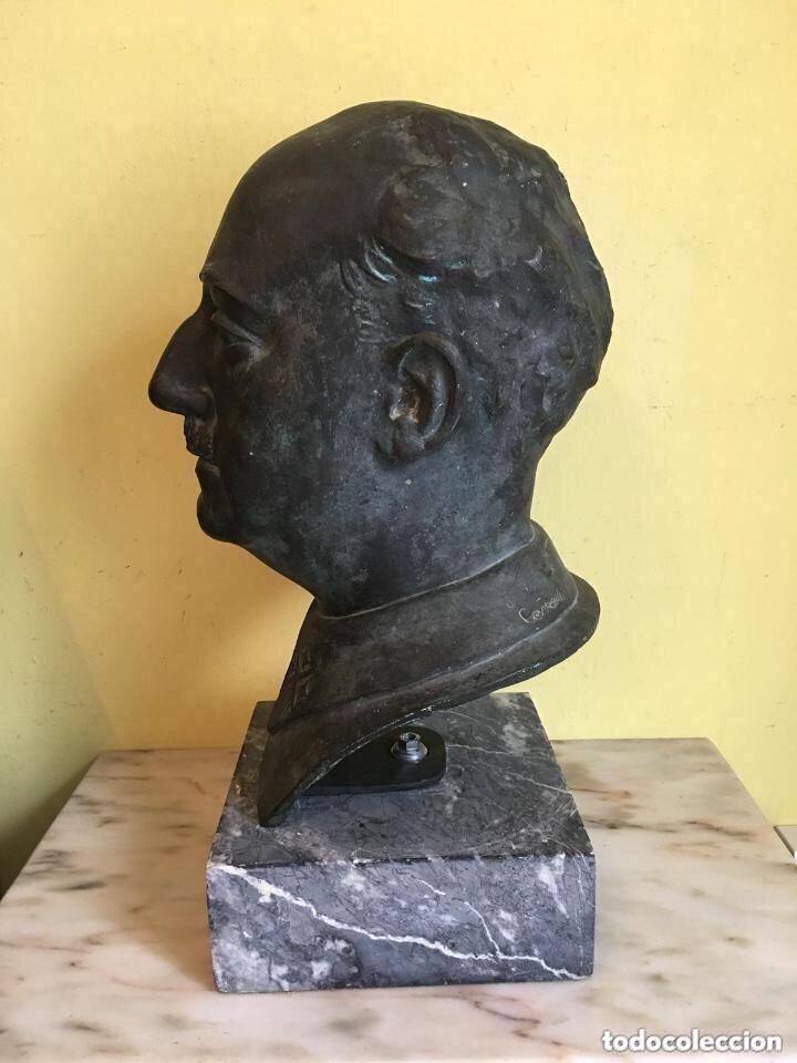 Arte: Busto De Francisco franco firmado y con sello de fundición - Foto 3 - 181853158