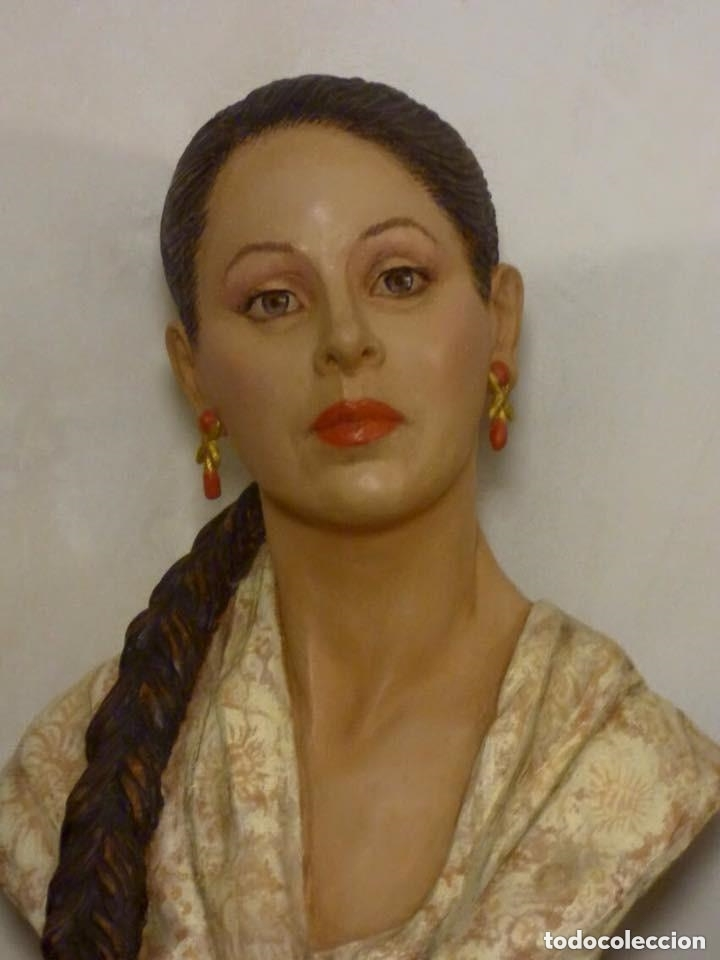 Arte: busto gran tamaño BONITA ESCULTURA DE ISABEL PANTOJA TERRACOTA barro cocido policromado, 2015 - Foto 2 - 181961441