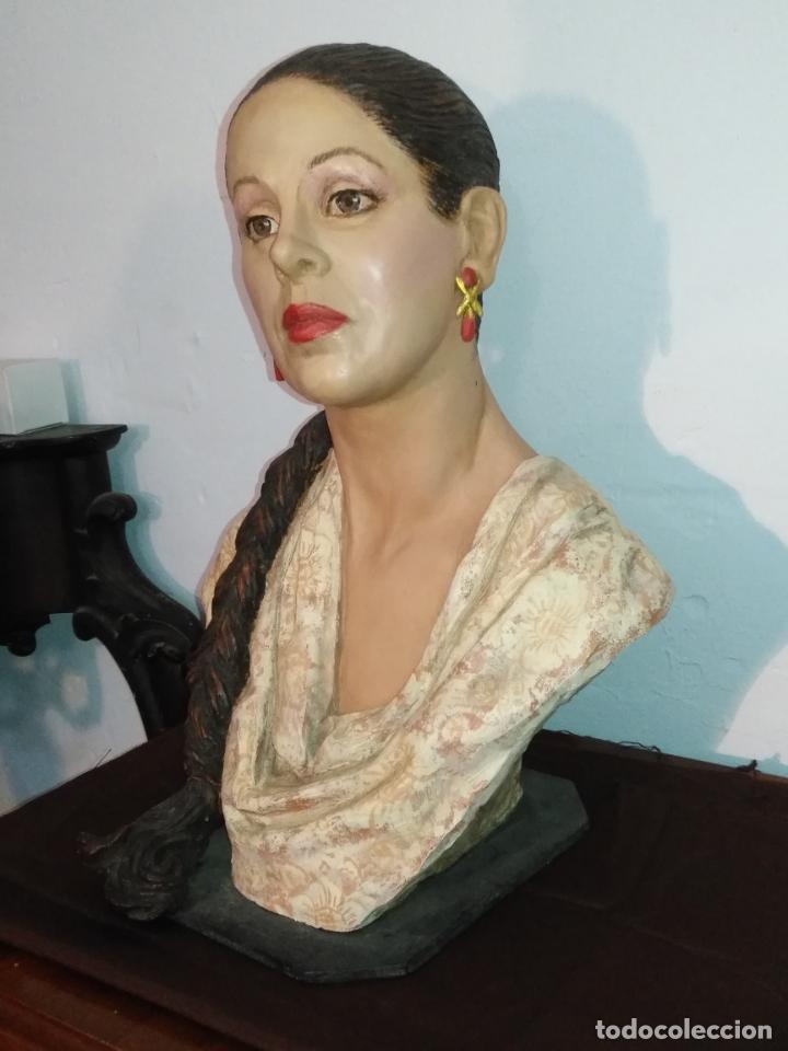 Arte: busto gran tamaño BONITA ESCULTURA DE ISABEL PANTOJA TERRACOTA barro cocido policromado, 2015 - Foto 3 - 181961441