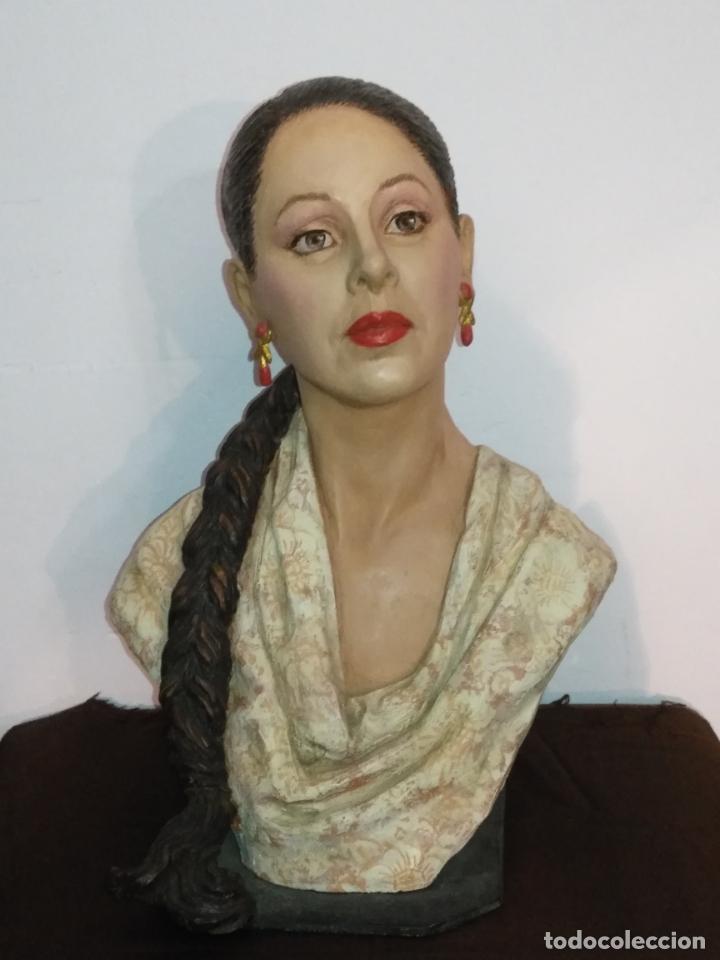 Arte: busto gran tamaño BONITA ESCULTURA DE ISABEL PANTOJA TERRACOTA barro cocido policromado, 2015 - Foto 5 - 181961441