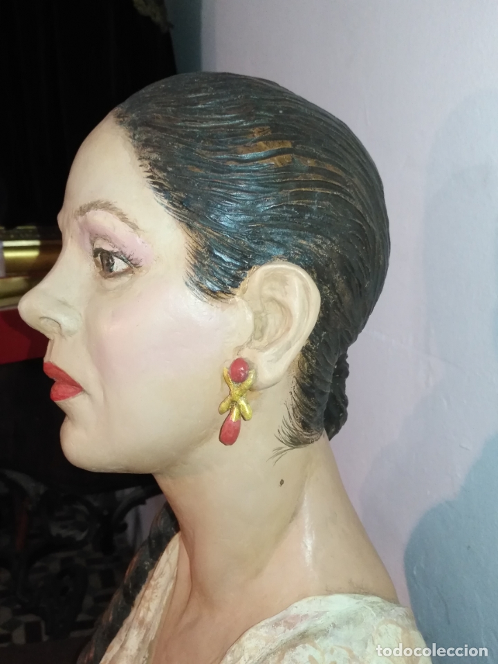 Arte: busto gran tamaño BONITA ESCULTURA DE ISABEL PANTOJA TERRACOTA barro cocido policromado, 2015 - Foto 8 - 181961441
