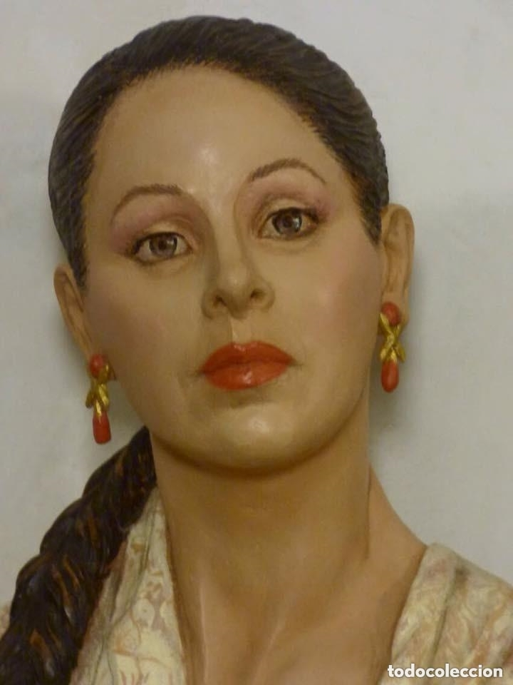 Arte: busto gran tamaño BONITA ESCULTURA DE ISABEL PANTOJA TERRACOTA barro cocido policromado, 2015 - Foto 13 - 181961441