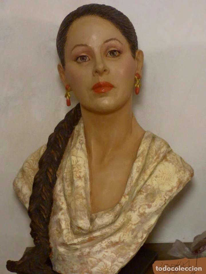 Arte: busto gran tamaño BONITA ESCULTURA DE ISABEL PANTOJA TERRACOTA barro cocido policromado, 2015 - Foto 14 - 181961441