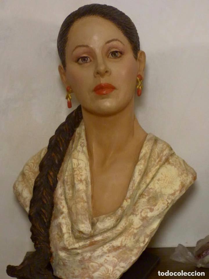 Arte: busto gran tamaño BONITA ESCULTURA DE ISABEL PANTOJA TERRACOTA barro cocido policromado, 2015 - Foto 15 - 181961441