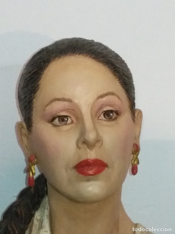 Arte: busto gran tamaño BONITA ESCULTURA DE ISABEL PANTOJA TERRACOTA barro cocido policromado, 2015 - Foto 17 - 181961441