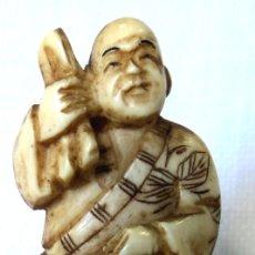 Arte: ANTIGUO NETSUKE DE MARFIL DE ELEFANTE FIRMADO AUTENTICO #1 JAPON ARTE JAPONES TALLA OKIMONO. Lote 182043192