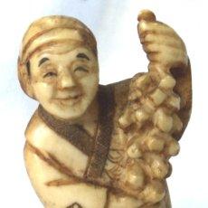 Arte: ANTIGUO NETSUKE DE MARFIL DE ELEFANTE FIRMADO AUTENTICO #3 JAPON ARTE JAPONES TALLA OKIMONO. Lote 182043992