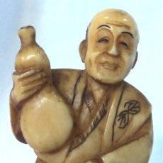 Arte: ANTIGUO NETSUKE DE MARFIL DE ELEFANTE FIRMADO AUTENTICO #4 JAPON ARTE JAPONES TALLA OKIMONO. Lote 182044340