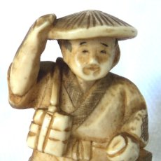Arte: ANTIGUO NETSUKE DE MARFIL DE ELEFANTE FIRMADO AUTENTICO #6 JAPON ARTE JAPONES TALLA OKIMONO. Lote 182045082