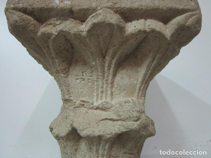 Arte: Precioso Capitel Gótico - Piedra Gerundense con Motivos Vegetales - Girona, Edad Media - S. XV - Foto 7 - 182147106