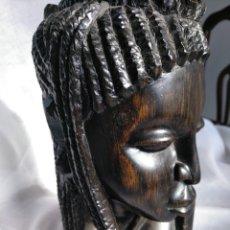 Arte: BUSTO MUJER AFRICANA, MADERA DE ÉBANO 23 CM. Lote 182160681