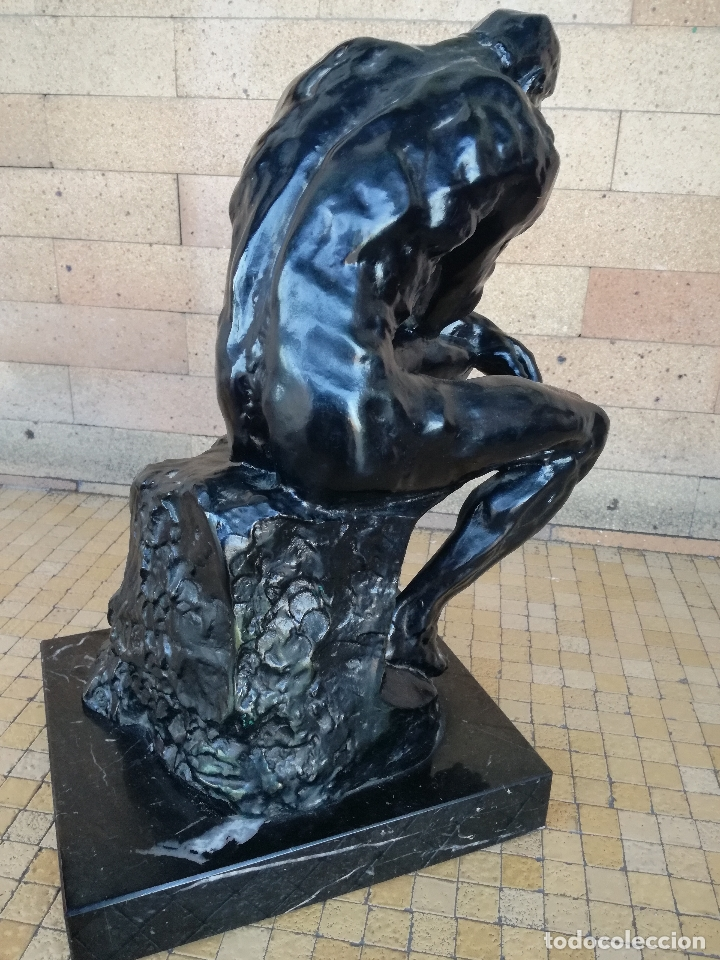 Arte: ESCULTURA DE BRONCE. EL PENSADOR DE RODIN. SERIE LIMITADA. ORIGINAL ALTURA: 38,5 CM - Foto 4 - 182228486