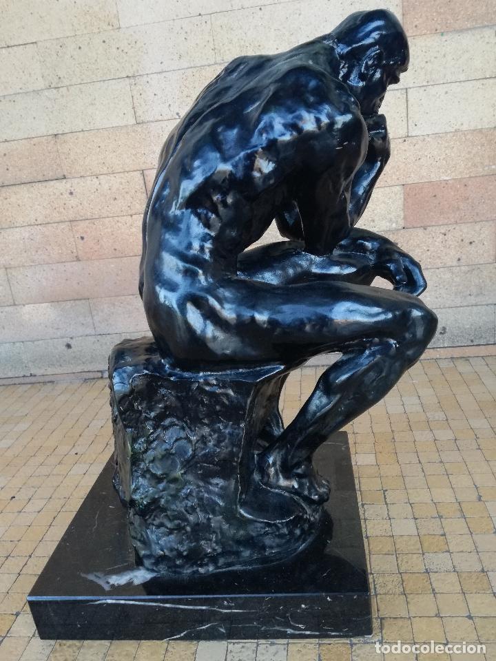 Arte: ESCULTURA DE BRONCE. EL PENSADOR DE RODIN. SERIE LIMITADA. ORIGINAL ALTURA: 38,5 CM - Foto 11 - 182228486