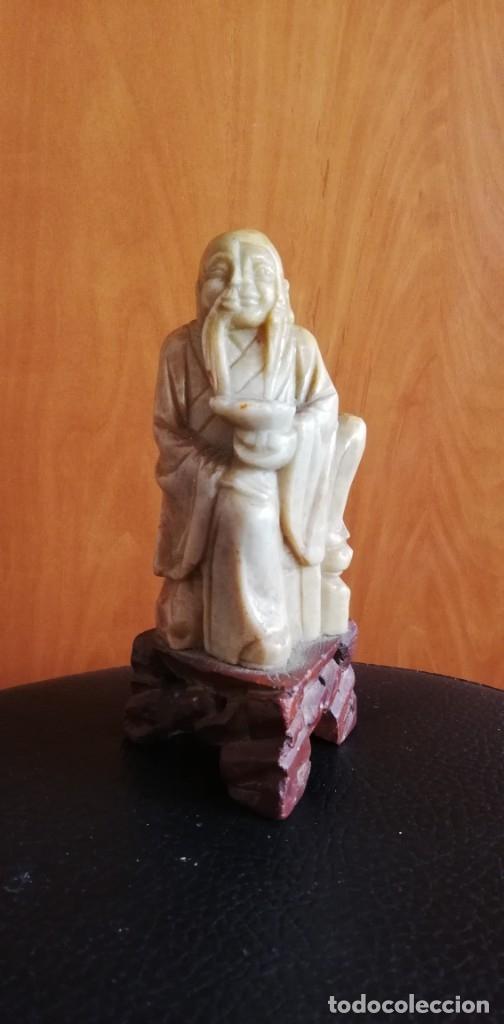 Arte: Figura Oriental tallada en piedra jabonosa - Foto 2 - 182317360
