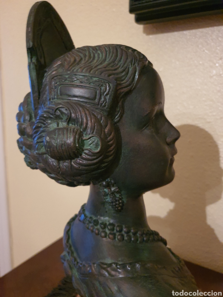 Arte: figura fallera pie mármol y piedra patinada bronce. - Foto 3 - 182382520
