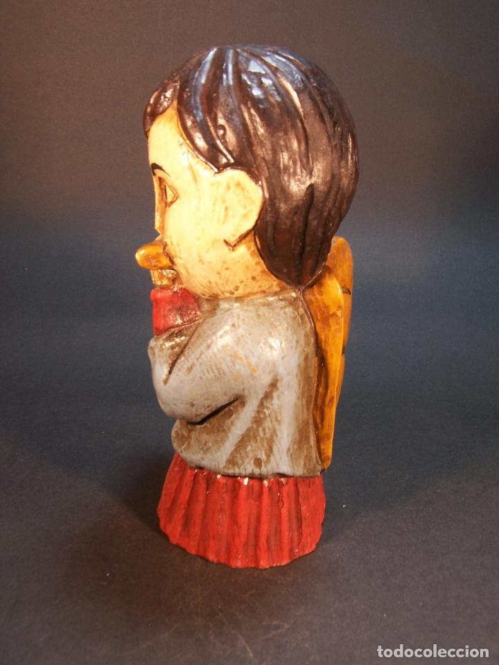 Arte: Bonita figura de angel tocando la flauta. Hecho y pintado a mano. Fabricado por Ouro. 16 cm. - Foto 4 - 182562198
