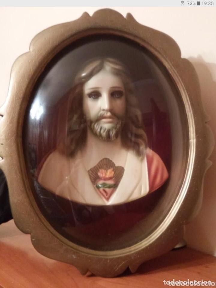 Arte: GRAN BUSTO ENMARCADO DEL SAGRADO CORAZÓN. - Foto 2 - 182629976