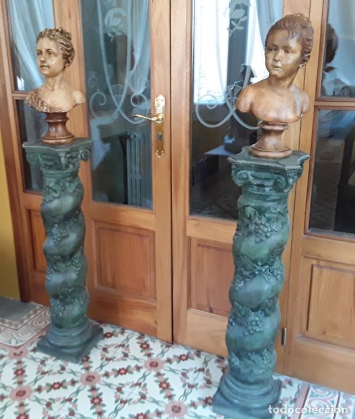 PAREJA BUSTOS TERRACOTA S XIX. SEGÚN MODELOS DE HOUDON Y G. PUGI (Arte - Escultura - Terracota )