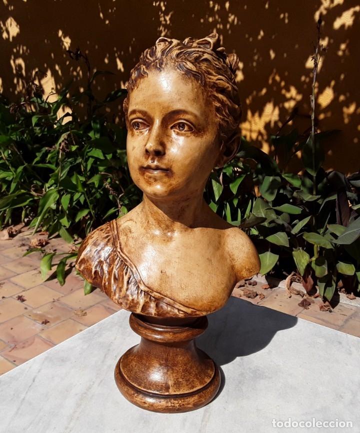Arte: Pareja bustos terracota S XIX. SEGÚN MODELOS de HOUDON y G. PUGI - Foto 11 - 182743706
