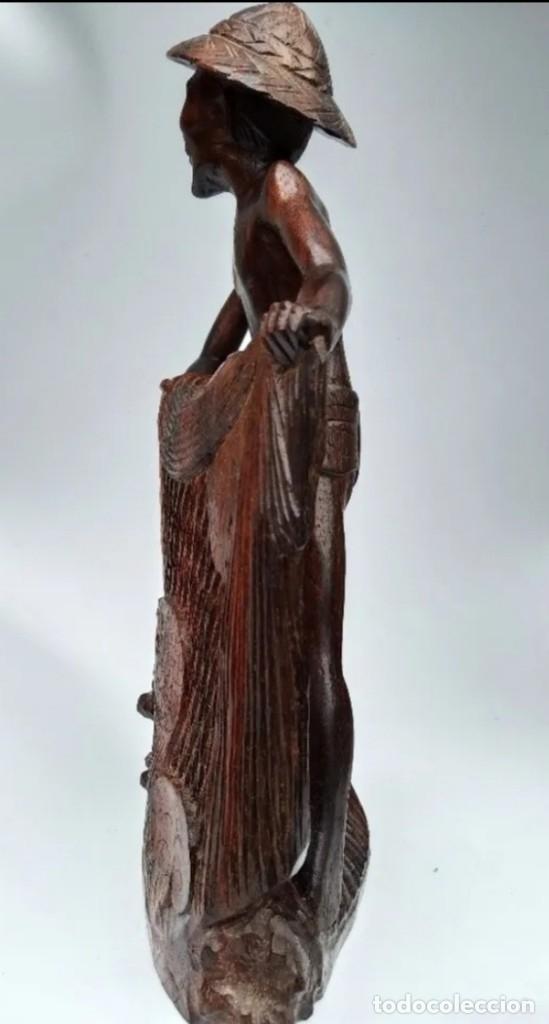 Arte: Madera de ébano. Escultura oriental de pescador. Asia. - Foto 2 - 183253366