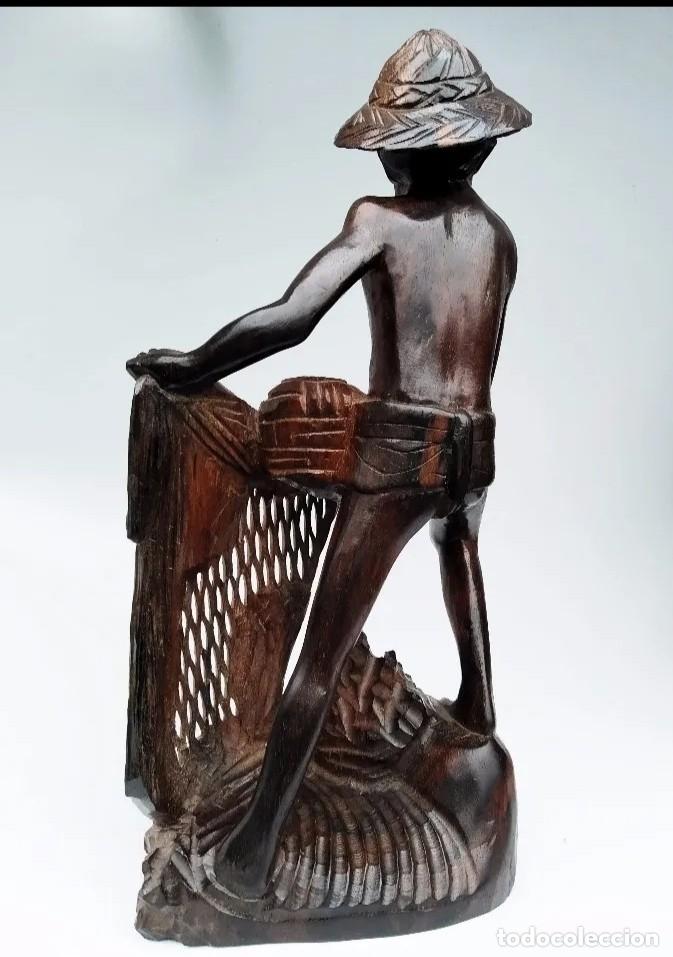 Arte: Madera de ébano. Escultura oriental de pescador. Asia. - Foto 3 - 183253366