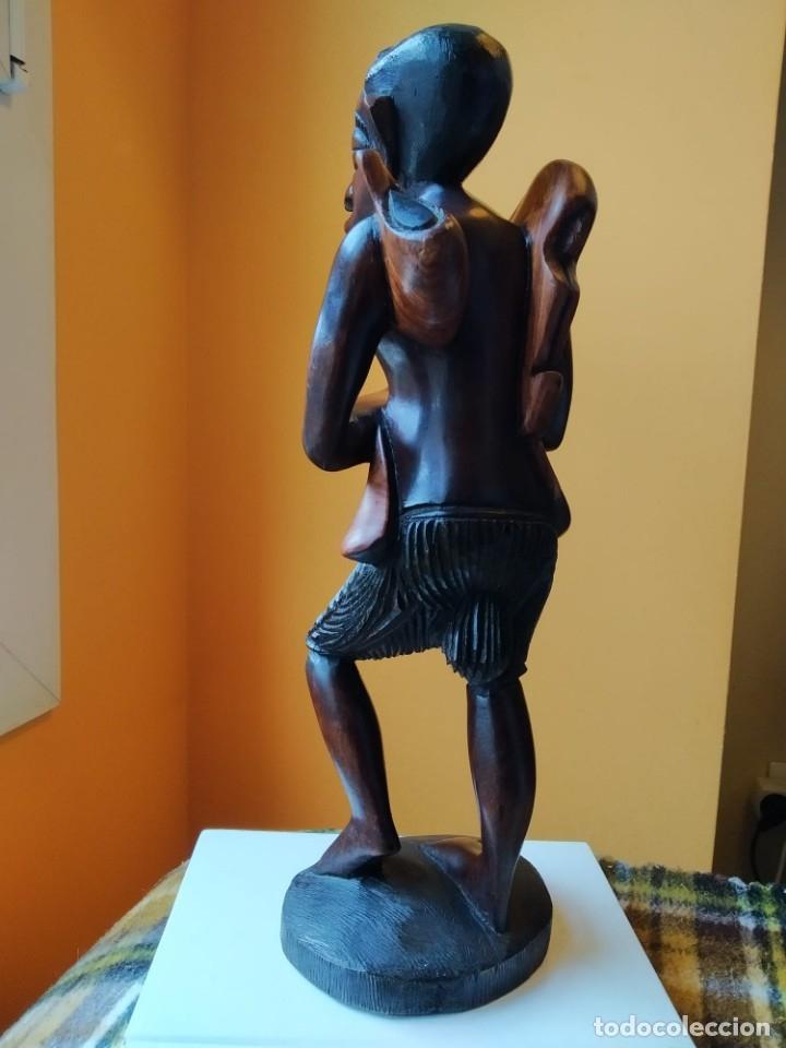 Arte: Figura alta calidad madera mahogany (caoba). África - Foto 7 - 183170365