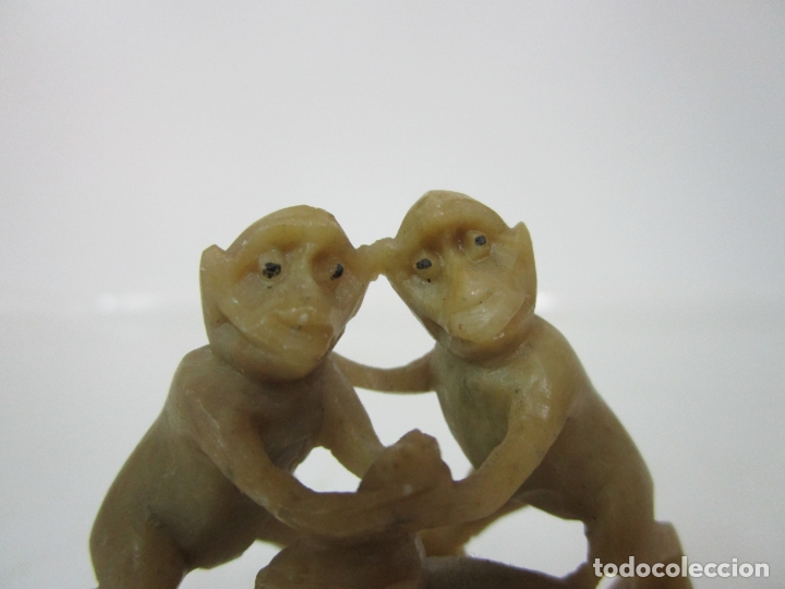 Arte: Escultura en Talla de Piedra Jabón - Figuras Monos - muy Buena Calidad - Foto 4 - 183357512
