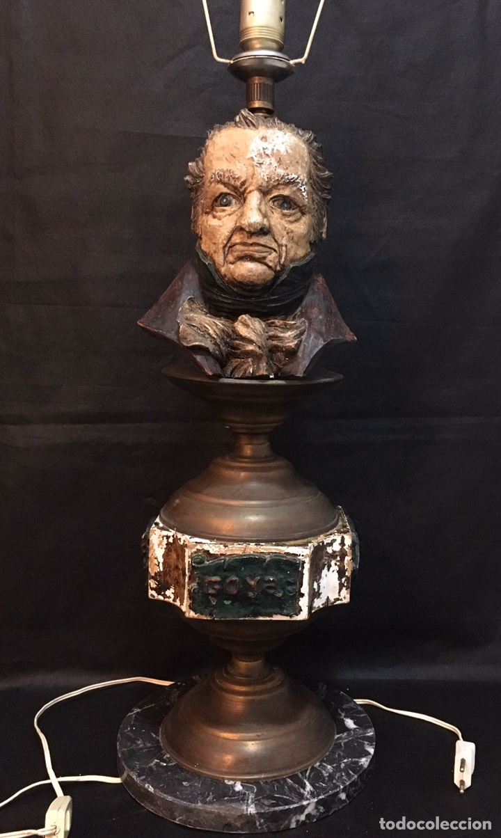 Arte: Lámpara busto de Goya antigua - Foto 2 - 184061838