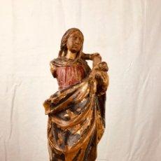 Arte: TALLA POLICROMA DE VIRGEN CON NIÑO JESÚS.SIGLO XIX.. Lote 184100652