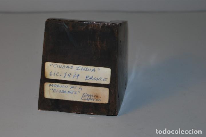 Arte: ESCULTURA EN BRONCE DE RAMÓN CALDERÓN - CIUDAD INDIA - MÓDULO Nº4 CIUDADES - 1979 - Foto 7 - 184286071