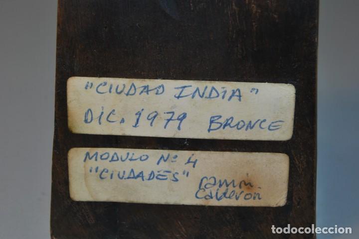 Arte: ESCULTURA EN BRONCE DE RAMÓN CALDERÓN - CIUDAD INDIA - MÓDULO Nº4 CIUDADES - 1979 - Foto 8 - 184286071