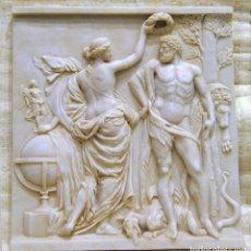Arte: ESCULTURAS Y BAJORRELIEVES CLÁSICO MEDIANO GRECIA HÉRCULES CORONADO POR LA GLORIA. 52X49CM. Lote 194698100