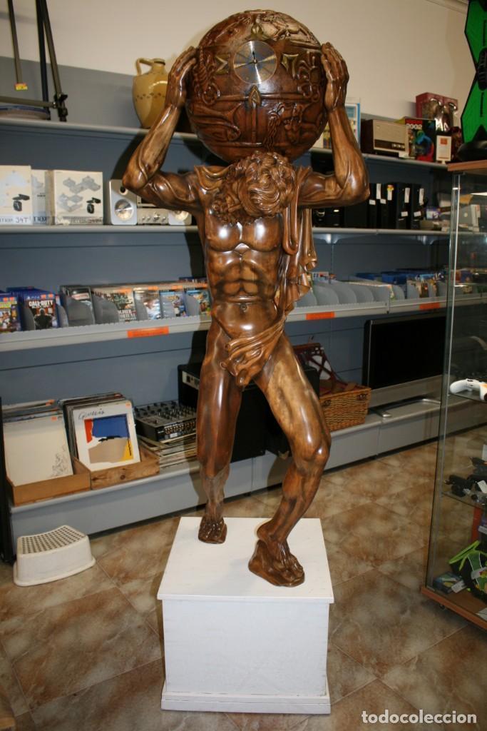 Arte: Atlas Dios Griego escultura tallada en madera 2 metros altura Impresionante - Foto 19 - 185693477