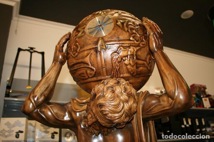 Arte: Atlas Dios Griego escultura tallada en madera 2 metros altura Impresionante - Foto 3 - 185693477