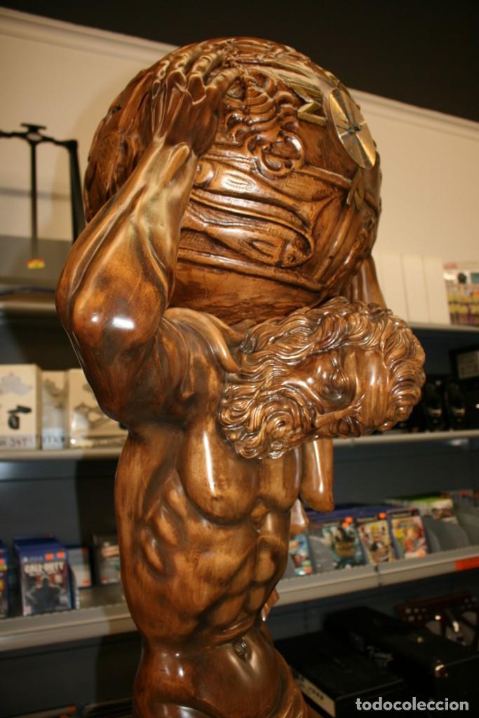 Arte: Atlas Dios Griego escultura tallada en madera 2 metros altura Impresionante - Foto 4 - 185693477