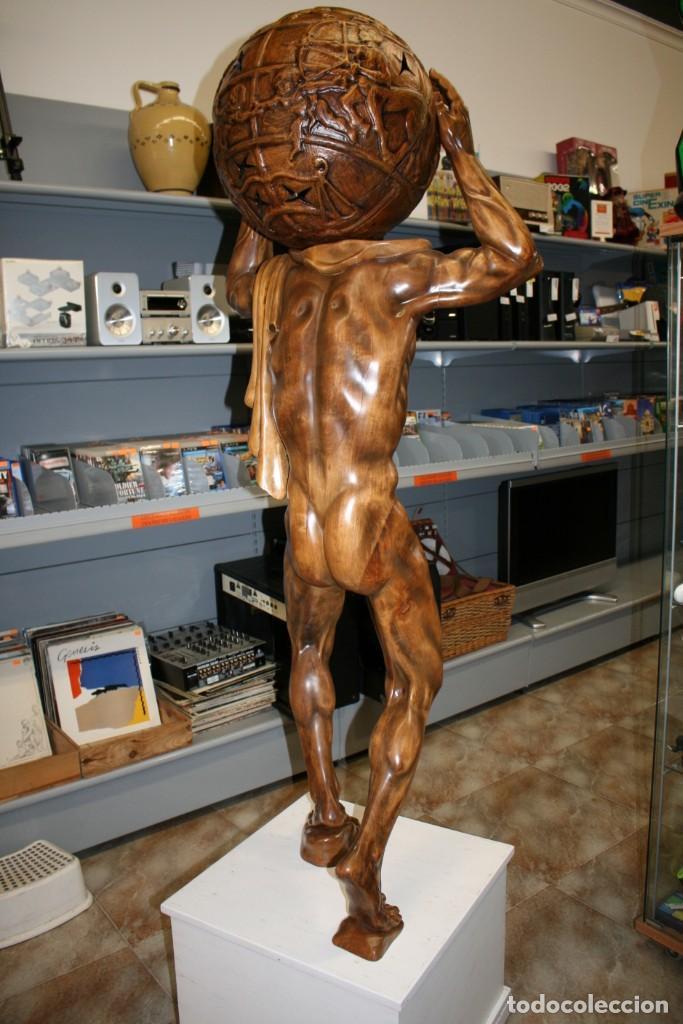 Arte: Atlas Dios Griego escultura tallada en madera 2 metros altura Impresionante - Foto 6 - 185693477