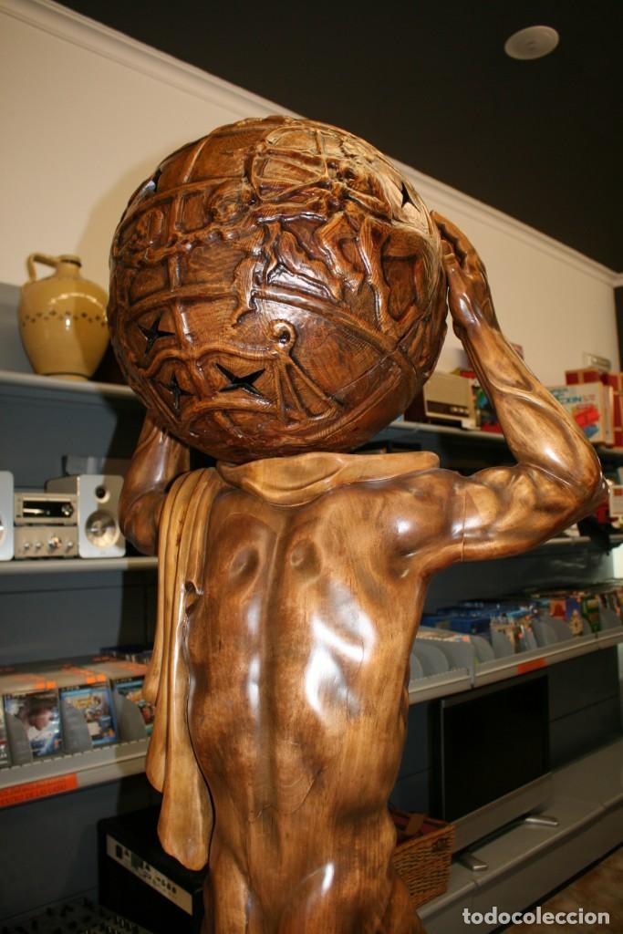 Arte: Atlas Dios Griego escultura tallada en madera 2 metros altura Impresionante - Foto 7 - 185693477