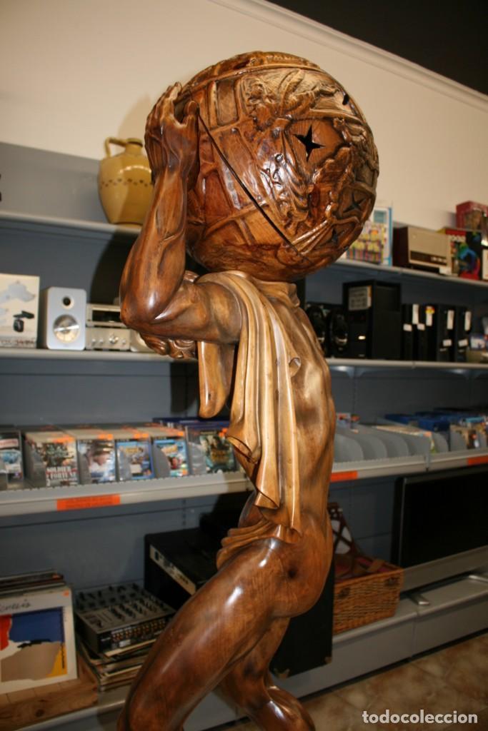 Arte: Atlas Dios Griego escultura tallada en madera 2 metros altura Impresionante - Foto 8 - 185693477