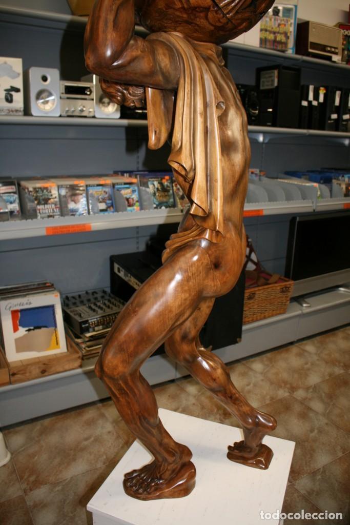 Arte: Atlas Dios Griego escultura tallada en madera 2 metros altura Impresionante - Foto 9 - 185693477